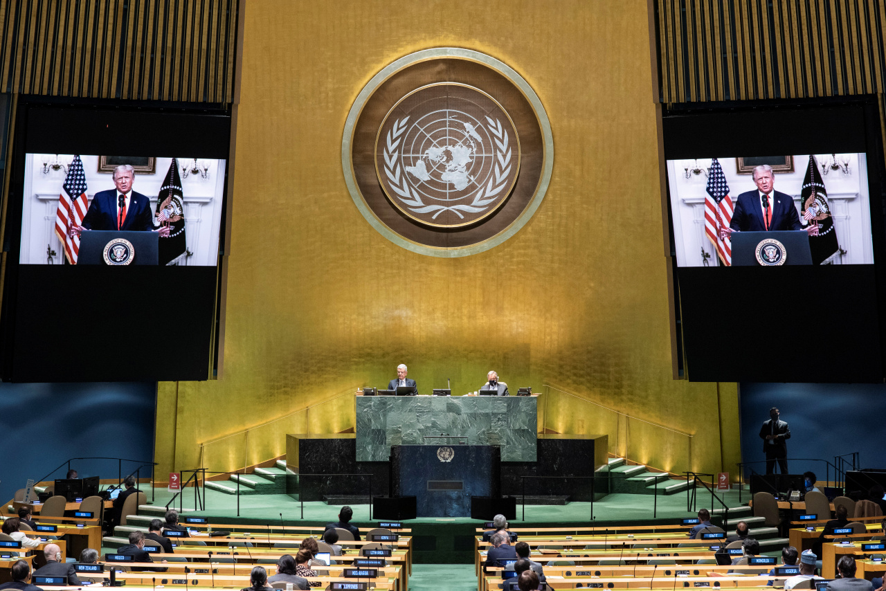 US President Donald Trump delivers a prerecorded address at the 75th General Debate of the United Nations General Assembly at United Nations Headquarters on Tuesday,in New York City. (AP-Yonhap)