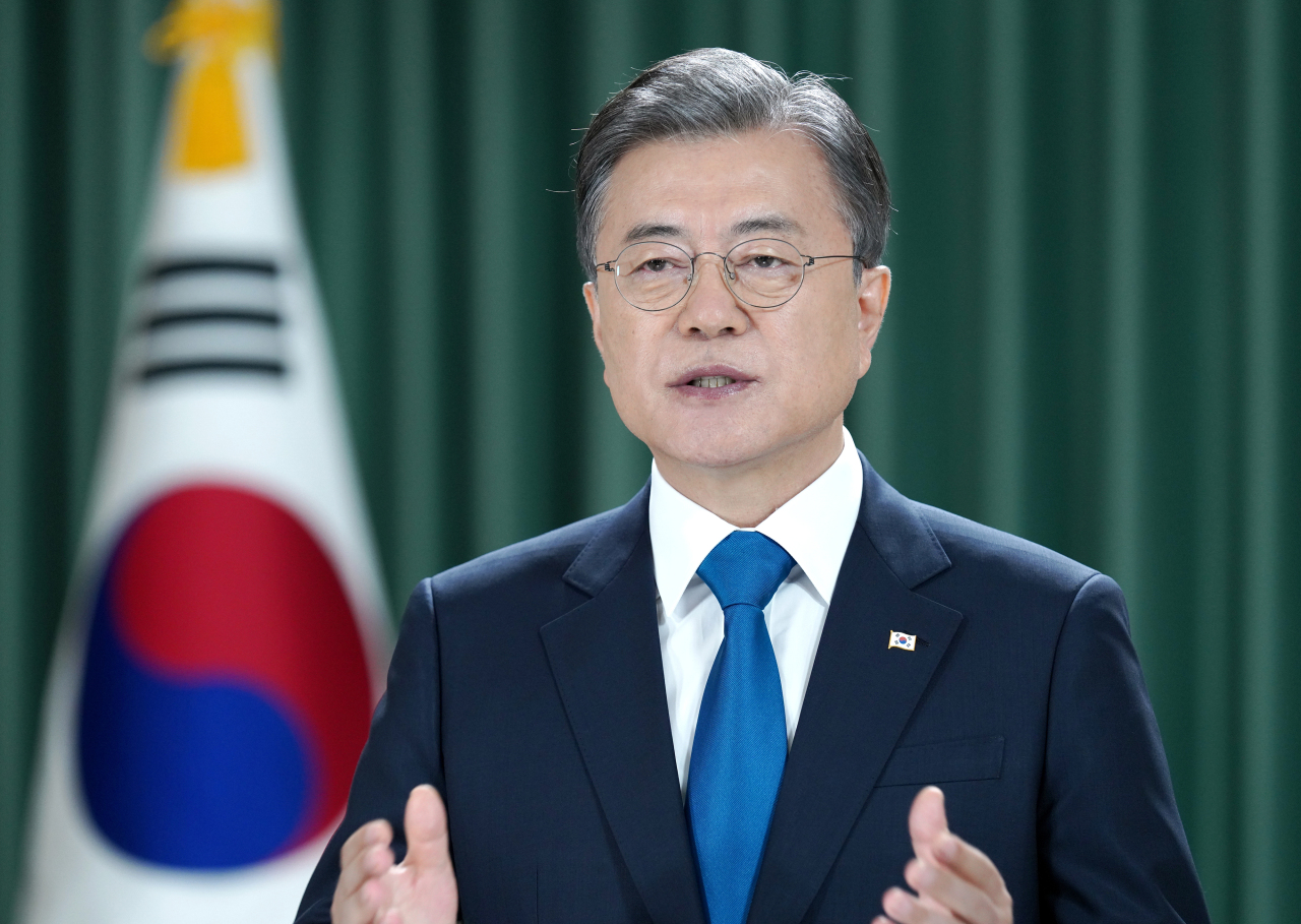 President Moon Jae-in addresses the UN on Wednesday. (Cheong Wa Dae)