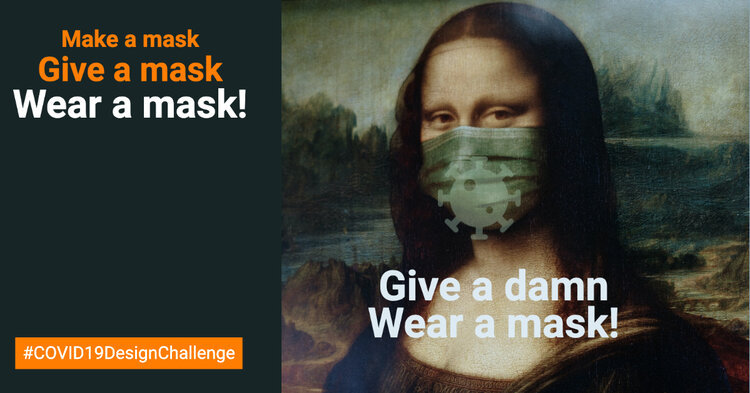 A draft image for a mask-wearing campaign to be used on Facebook and Instagram (COVID19 Design Challenge)