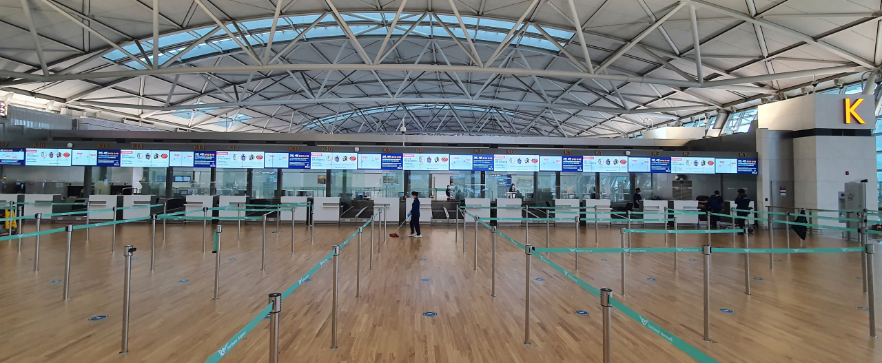 Empty terminal for international flights at Incheon International Airport on Sept. 17 (Yonhap)