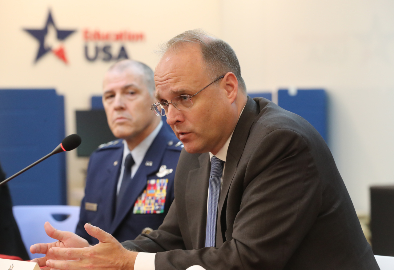Marshall Billingslea, special US presidential envoy for arms control, speaks during a press conference in Seoul. (Yonhap)