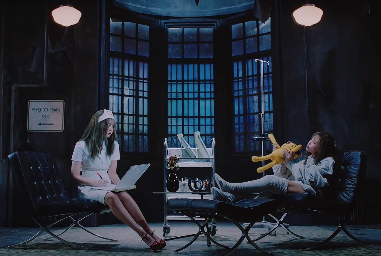 """Blackpink's Jennie (left) dons a nurse's outfit in the """"Lovesick Girls"""" music video. (YouTube)"""