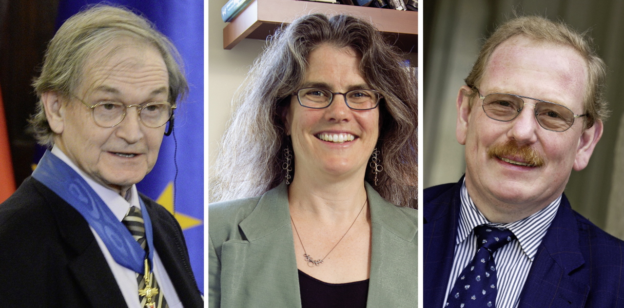 A composite photo shows British mathematical physicist Roger Penrose, US astronomer Andrea Ghez and German astrophysicist Reinhard Genzel, who have been jointly awarded the 2020 Nobel Prize in Physics, issued Oct. 6 2020. (EPA-Yonhap)