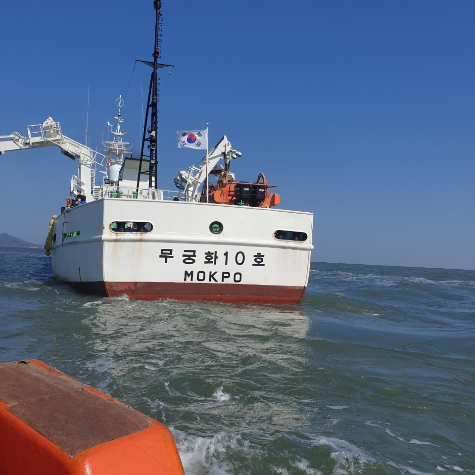 Photo shows fishery patrol ship where the late South Korean official worked before he went missing. (courtesy of Lee)