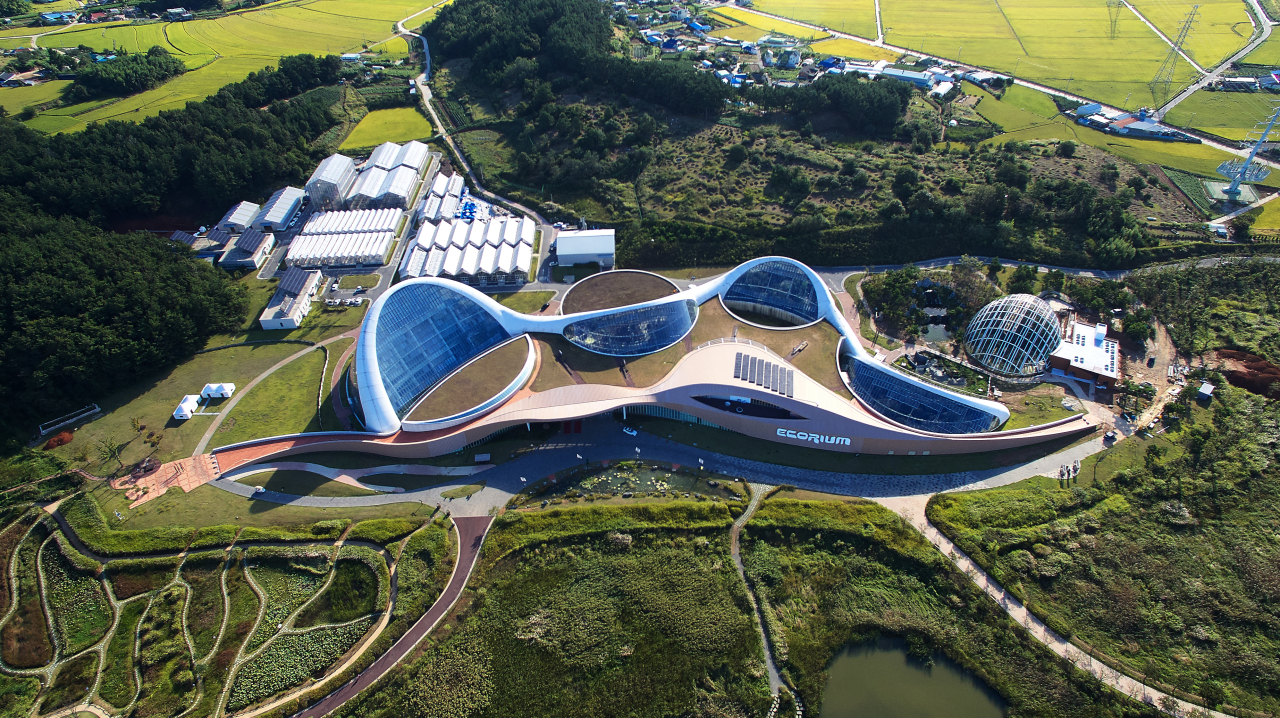 An aerial view of the National Institute of Ecology's main complex in Seocheon, South Chungcheong Province. (NIE)