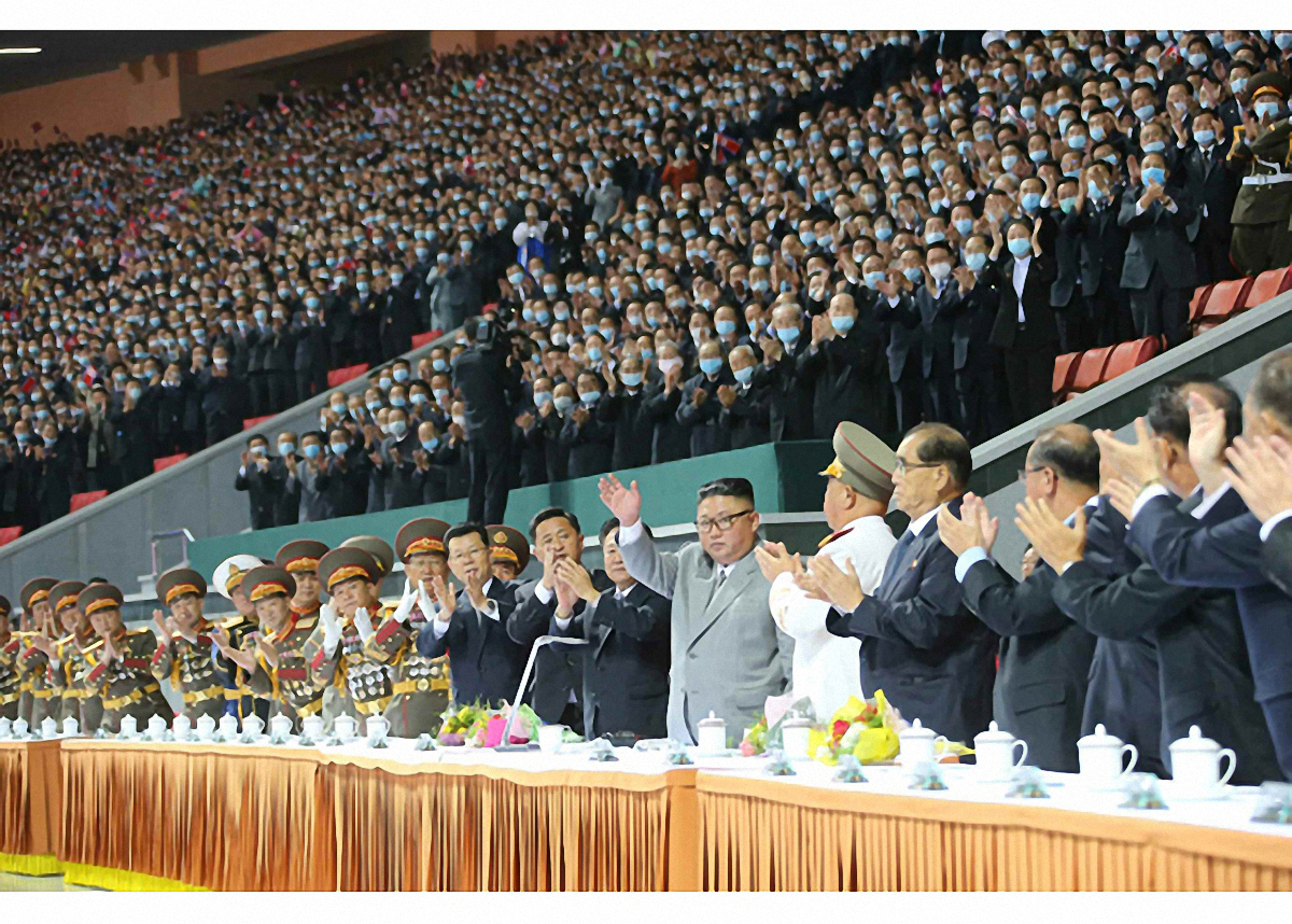 """In this photo by Rodong Sinmun, North Korean leader Kim Jong-un attended the mass games event titled """"Great Guidance"""" at the May Day Stadium in Pyongyang on Sunday. (Rodong Sinmun-Yonhap)"""