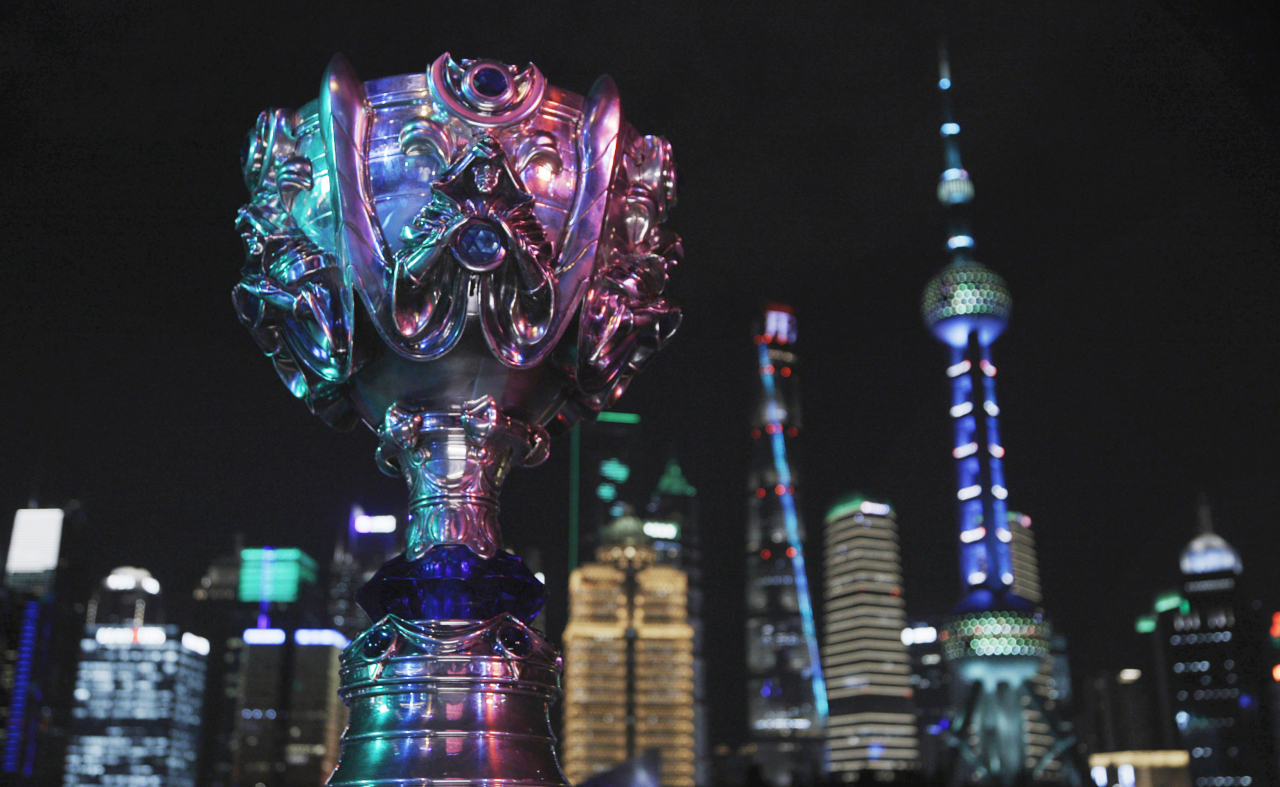 2020 LoL World Championship trophy is shown in Shanghai. (Riot Games)