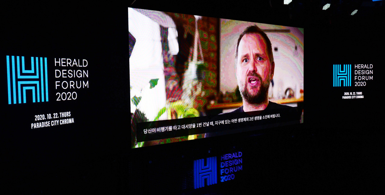 Artist Tomas Saraceno speaks through a streamed video during Herald Design Forum 2020. (Park Hae-mook / The Korea Herald)
