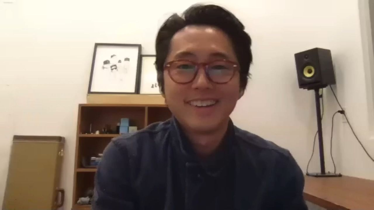 """Steven Yeun, who played Korean immigrant dad Jacob in """"Minari"""" talks during a press conference held via Zoom Friday as part of Busan International Film Festival. (BIFF)"""
