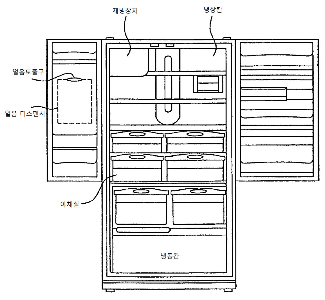 A blueprint of LG Electronics' patented icing technology for a French door refrigerator (LG Electronics)