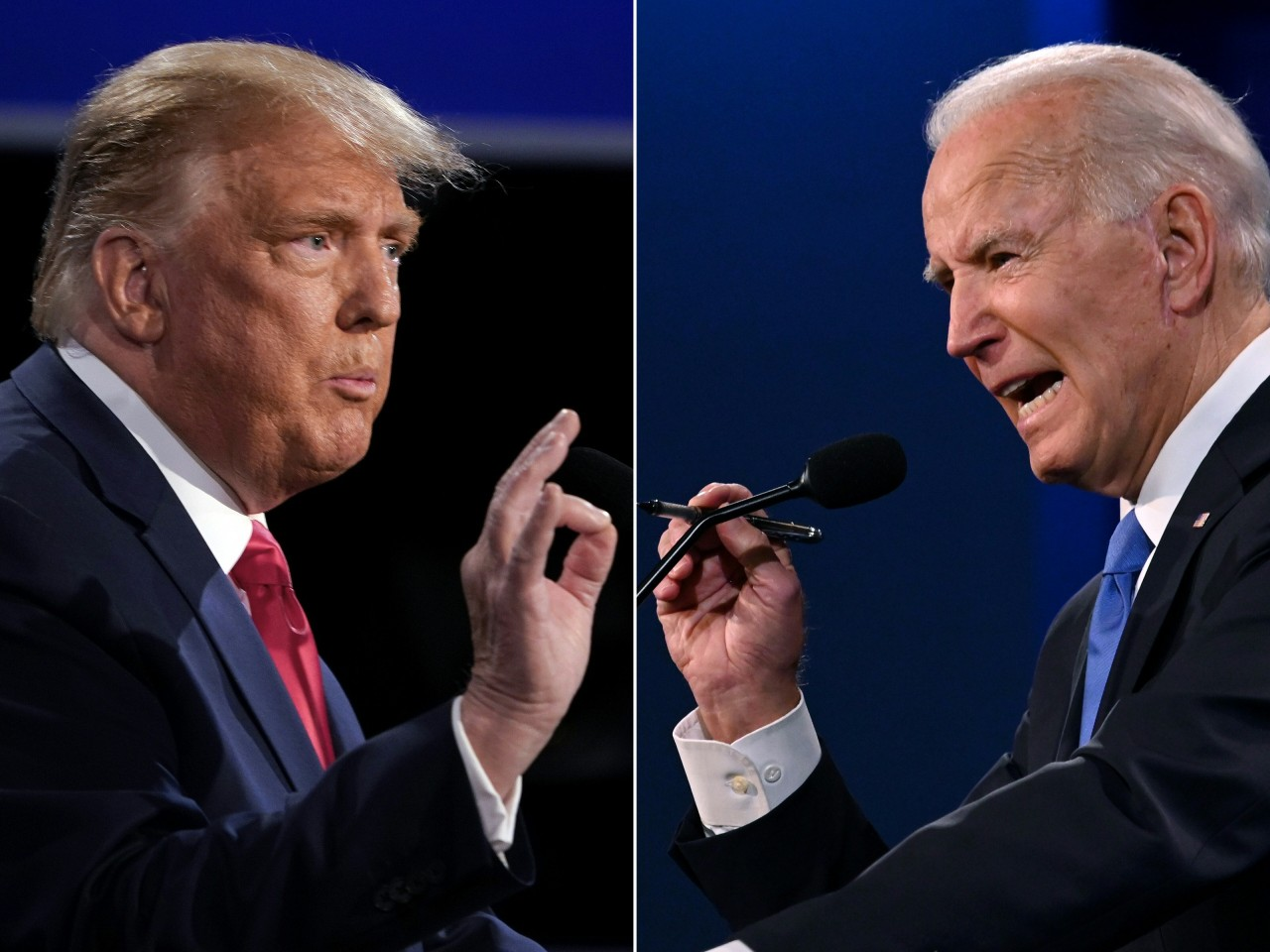 US President Donald Trump and former Vice President Joe Biden speak at the presidential debate on Oct. 22. (AFP-Yonhap)