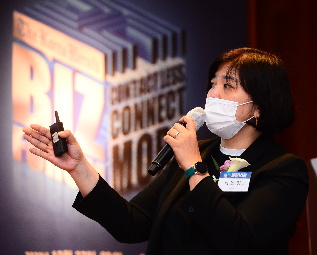 "Samsung Electronics Vice President Jamie Choi speaks at the Korea Herald Biz Forum: ""Contact less, connect more"" at The Shilla Seoul on Tuesday. (By Park Hae-mook/The Korea Herald)"