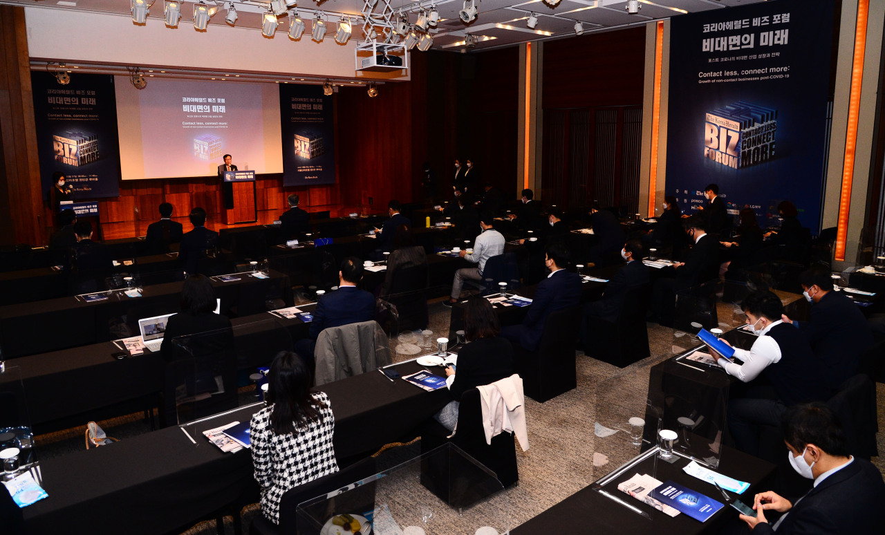 "Participants attend ""The Korea Herald Biz Forum: Contact less, connect more"" forum held at The Shilla in Seoul, Tuesday. (Park Hae-mook/The Korea Herald)"