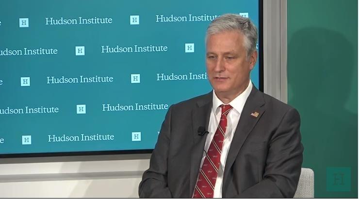 US National Security Adviser Robert O'Brien (Screenshot captured from the Hudson Institute website)