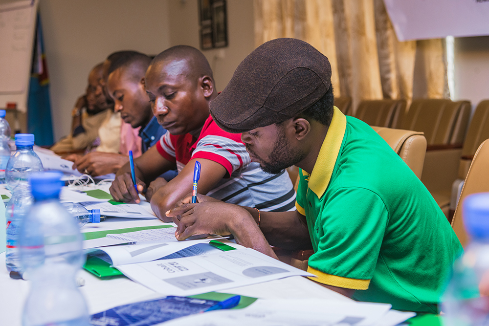 "Miners take part in a four-day training course on health and safety, environmental management, protective equipment and cooperative management processes as part of the ""Cobalt for Development"" project. (Samsung Electronics)"