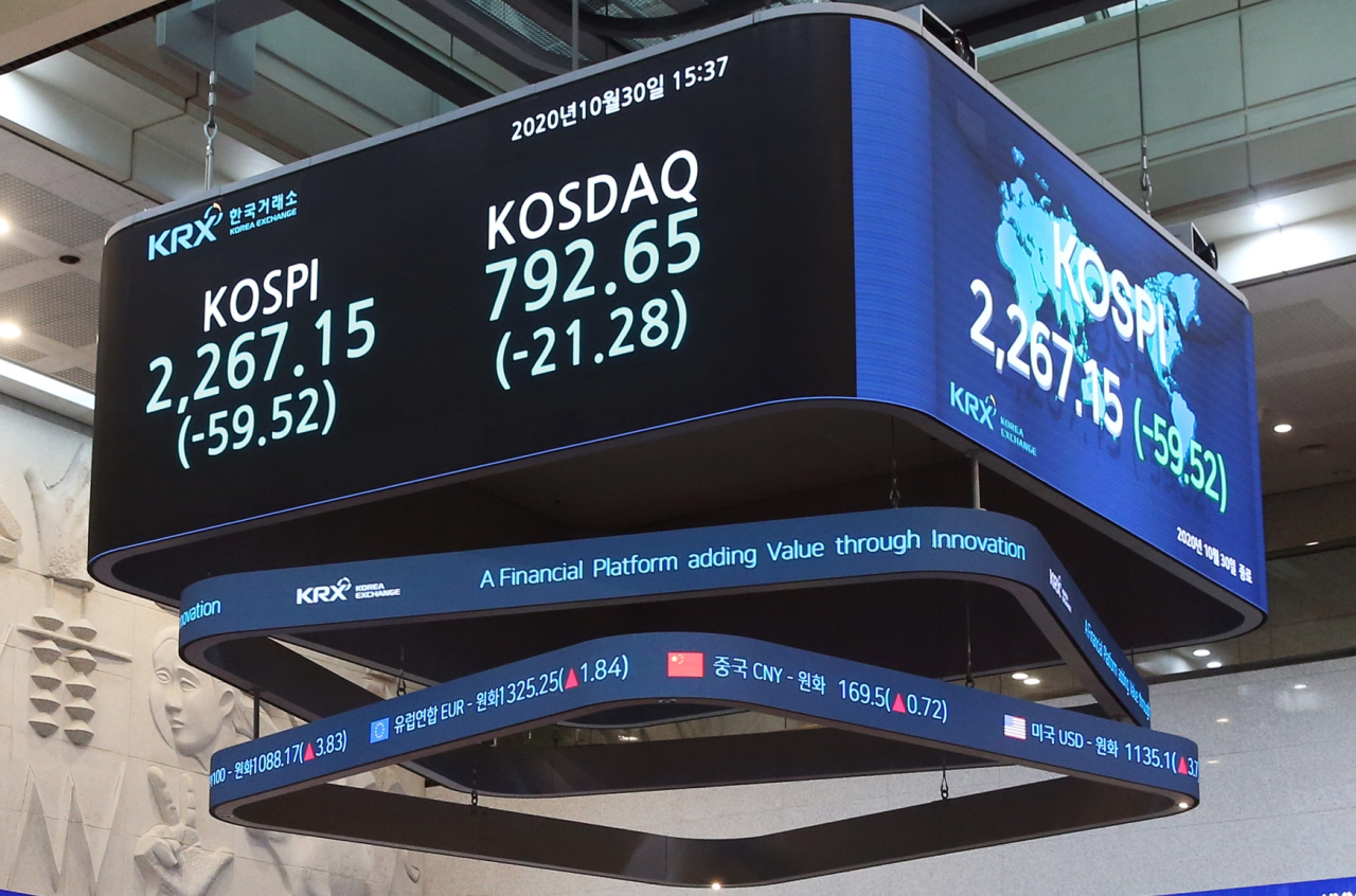 An electric board at the Korea Exchange shows the closing of the Kospi and Kosdaq on Friday. (Korea Exchange)