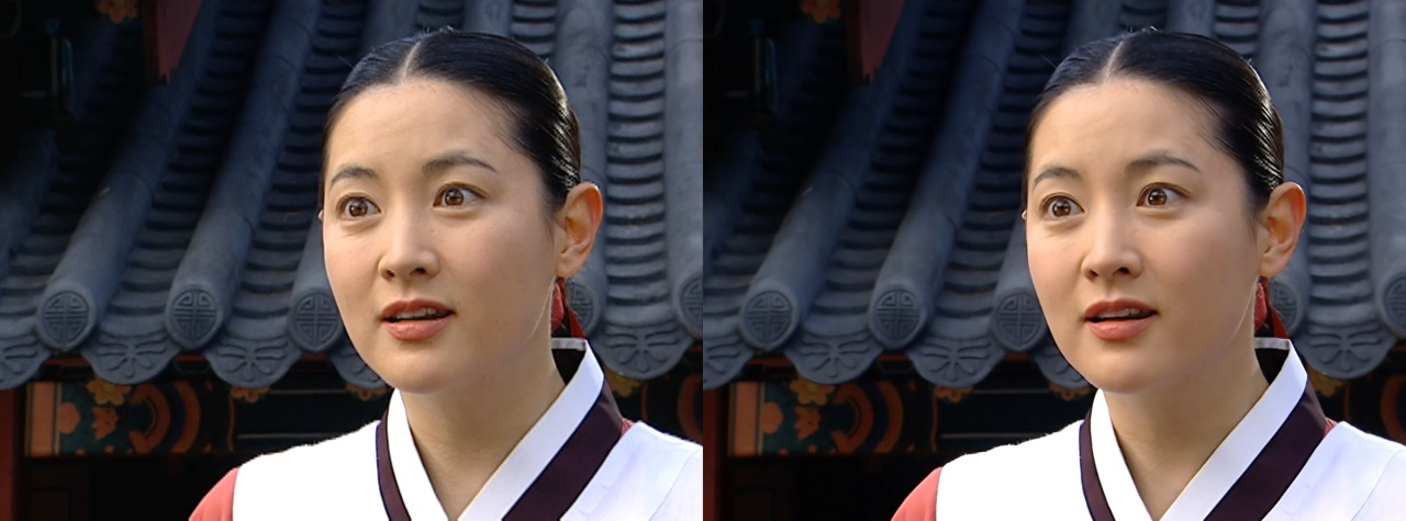 "A scene from MBC's ""Jewel in the Palace"" in standard definition (left) and high definition (MBC)"