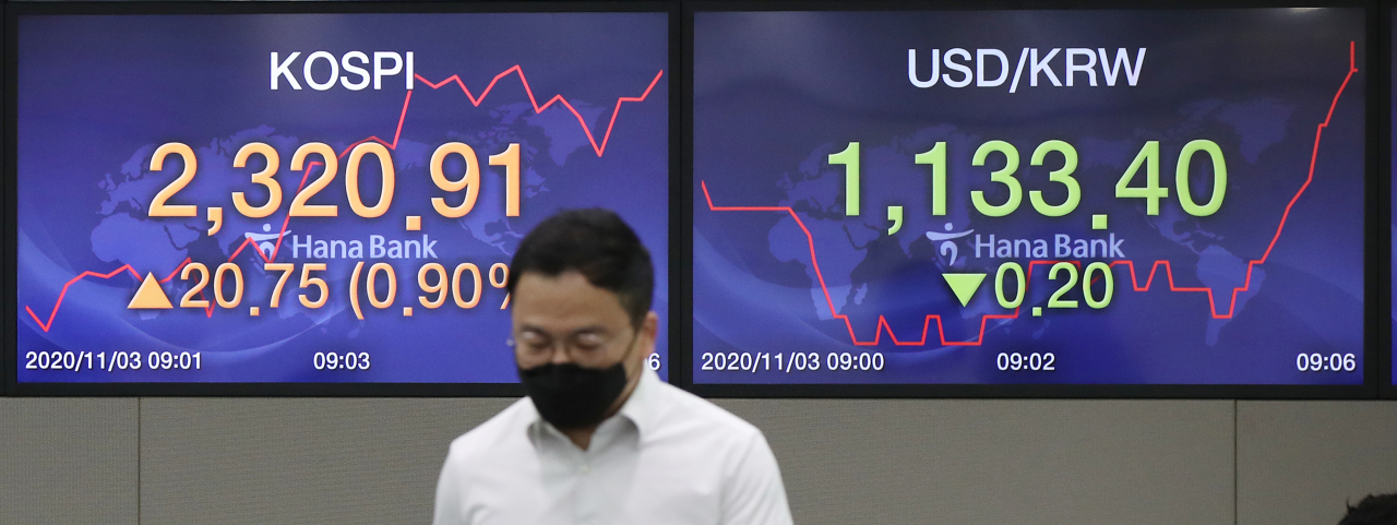 Screens display the benchmark Korea Composite Stock Price Index (Kospi) and the tech-heavy Kosdaq figures at a dealing room of a local bank in Seoul, Tuesday. (Yonhap)