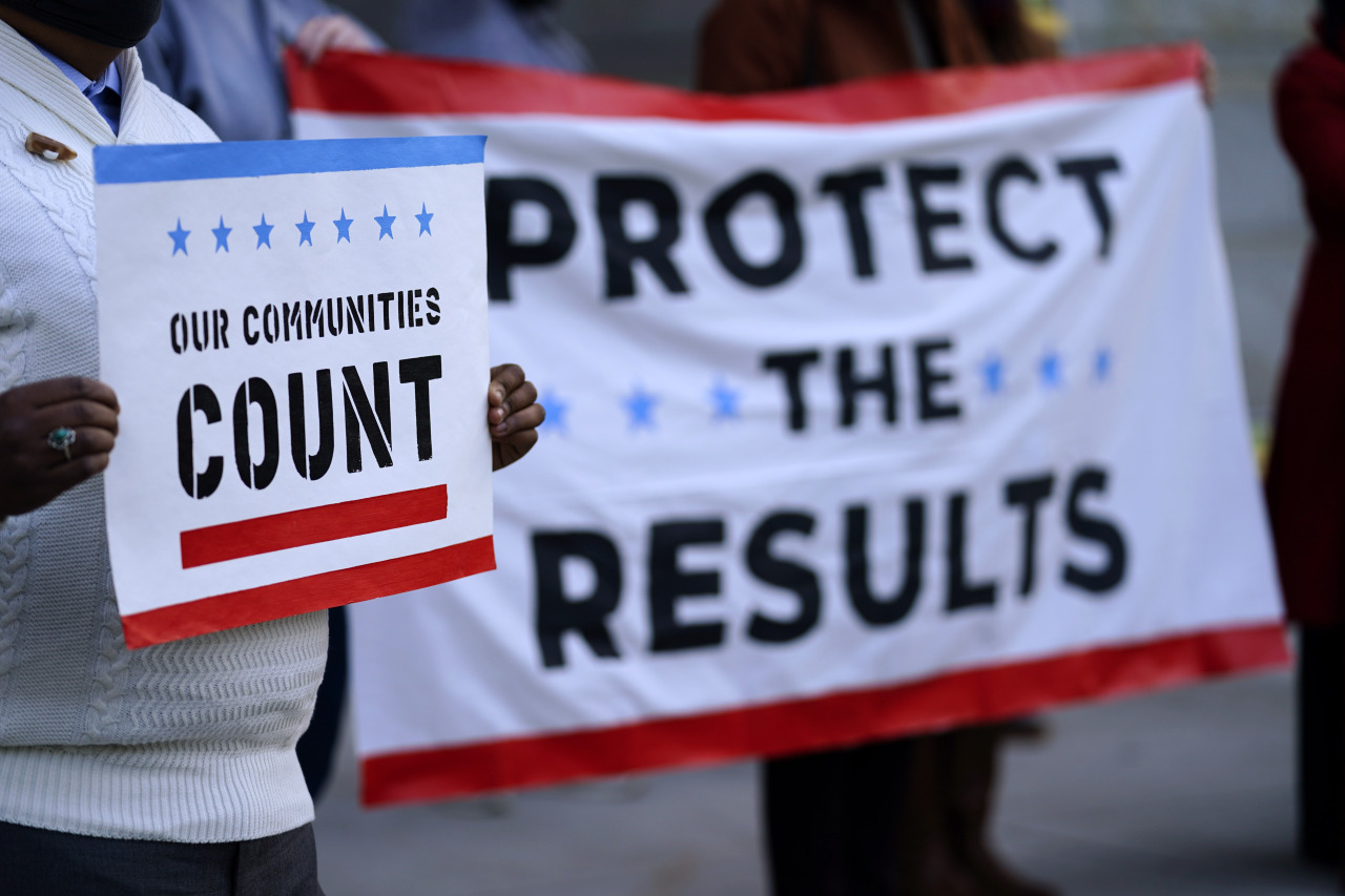 Demonstrators rally outside City Hall on the eve of the 2020 General Election in the United States, Monday, in Philadelphia. (AP-Yonhap)