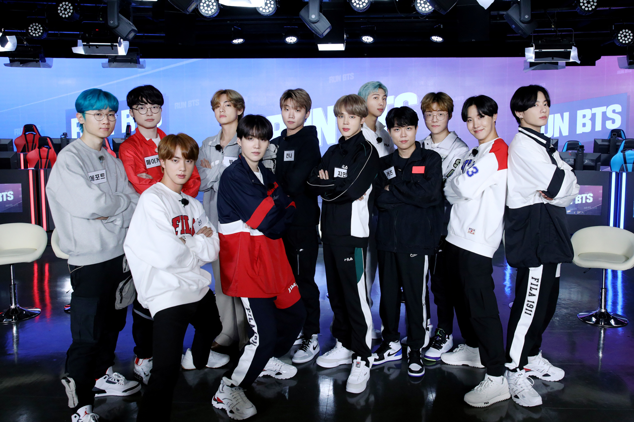Members of K-pop group BTS and LoL team T1 (T1)