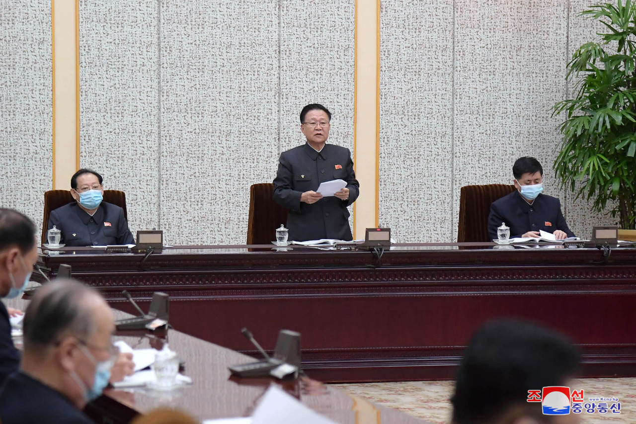 North holding a plenary meeting of the 14th Presidium of the Supreme People's Assembly to discuss the tobacco prohibition law and revision to the enterprise law. (KCNA-Yonhap)