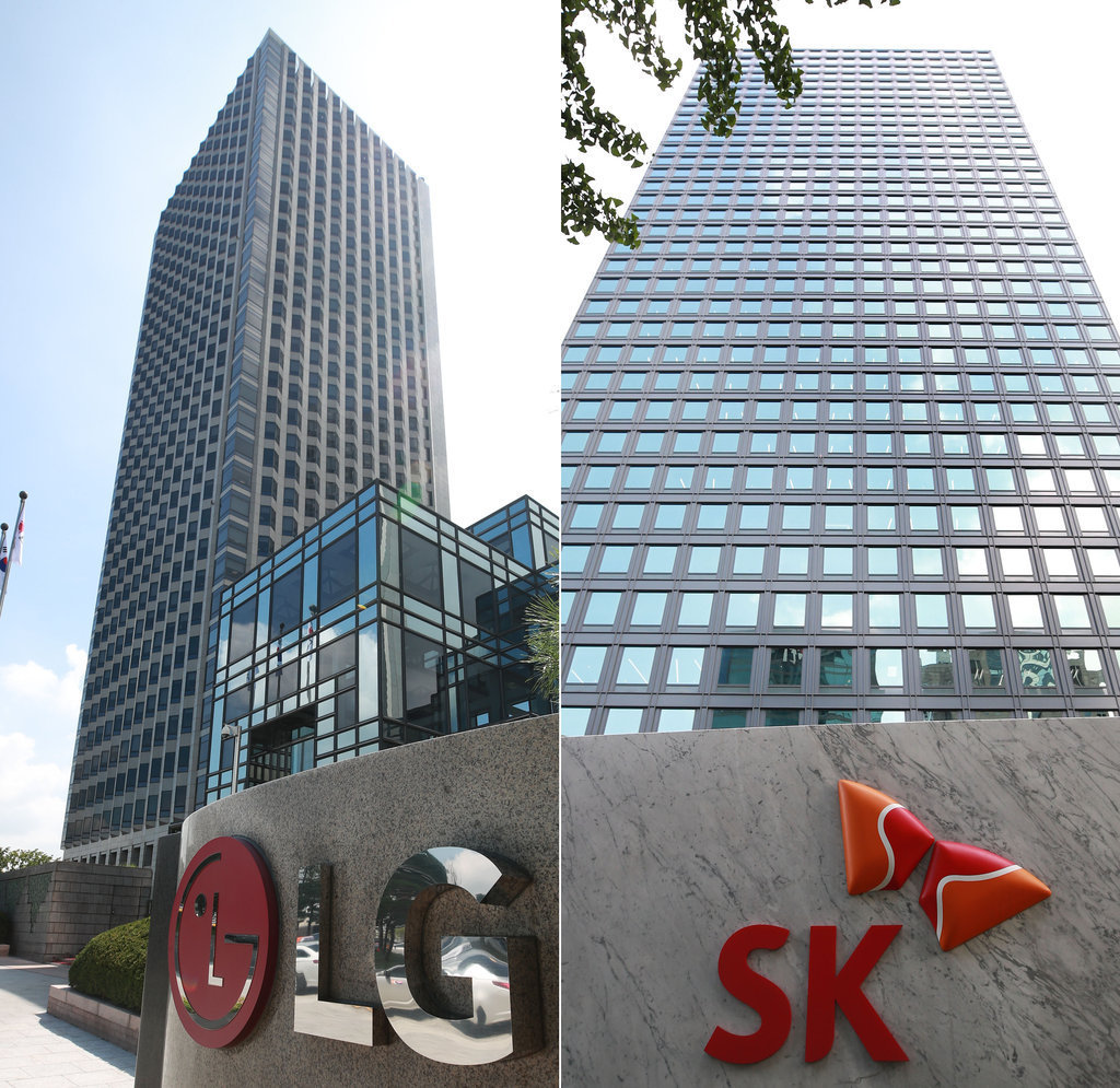 Headquarters of LG Group (left) and SK Group (Yonhap)