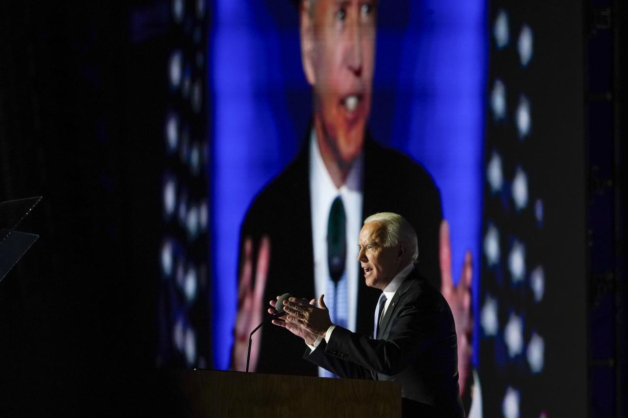 President-elect Joe Biden speaks on Saturday, in Wilmington (AP-Yonhap)