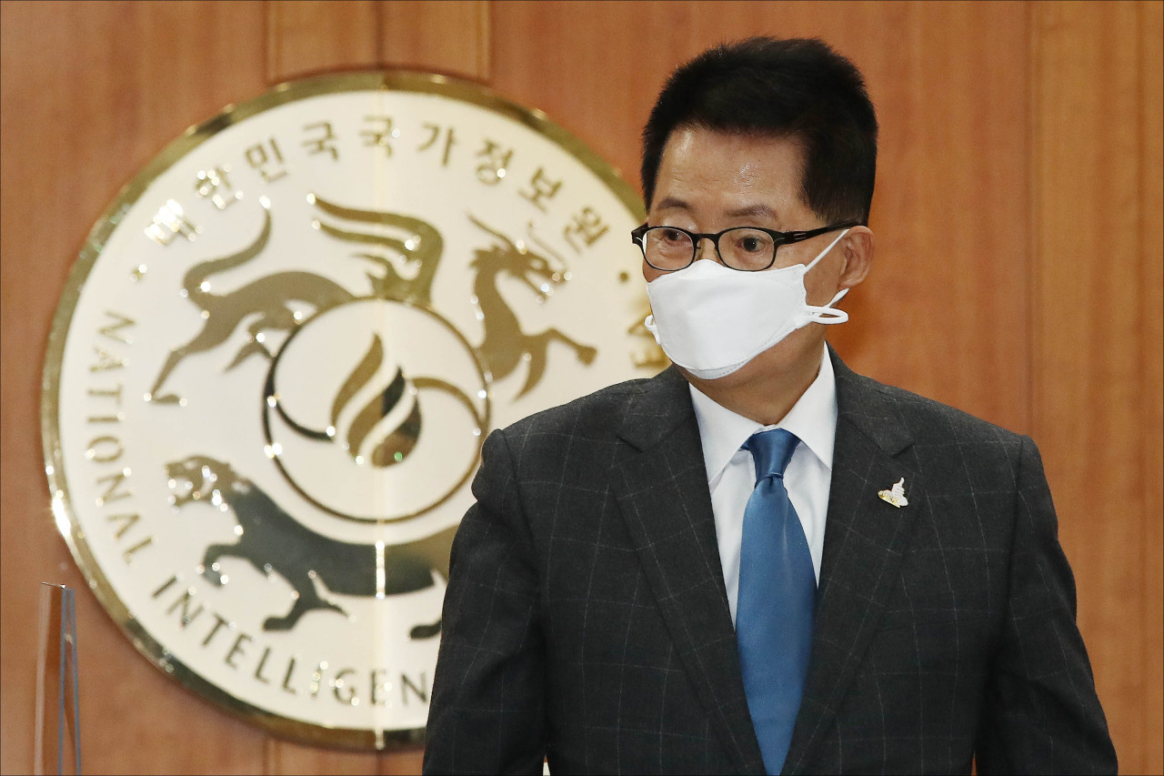 National Intelligence Service Director Park Jie-won seen at the parliamentary audit of his agency on Nov. 3. Yonhap