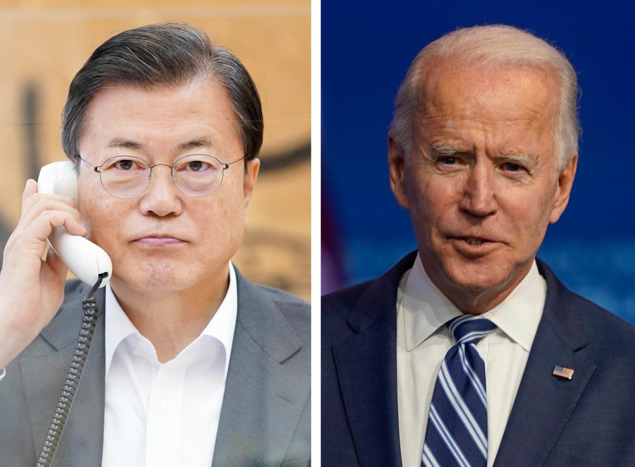 President Moon Jae-in and US President-elect Joe Biden. (Yonhap)