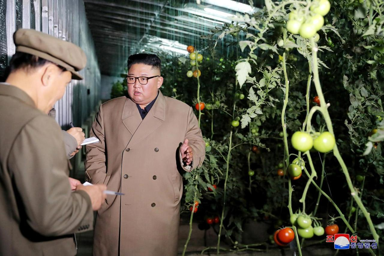 North Korean leader Kim Jong-un talks to officials during a visit to the Jungphyong Vegetable Greenhouse Farm and Tree Nursery under construction in Kyongsong County, northeastern North Korea. (KCNA-Yonhap)