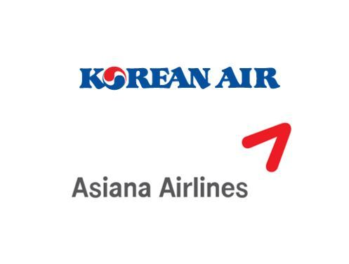 Logos of Korean Air Lines and Asiana Airlines