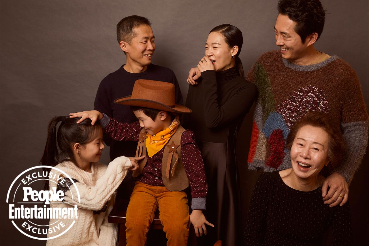 "Clockwise from top are ""Minari"" director Lee Isaac Chung, Han Ye-ri, Steven Yeun, Youn Yuh-jung, Alan S. Kim and Noel Kate Cho. (Pan Entertainment)"