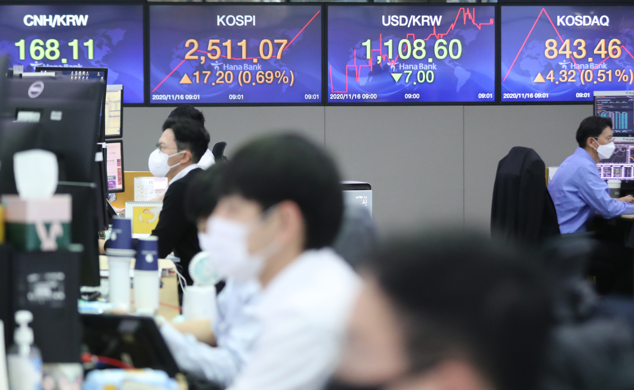 The benchmark Korea Composite Stock Price Index (Kospi) figures are displayed at a dealing room of a local bank in Seoul. (Yonhap)