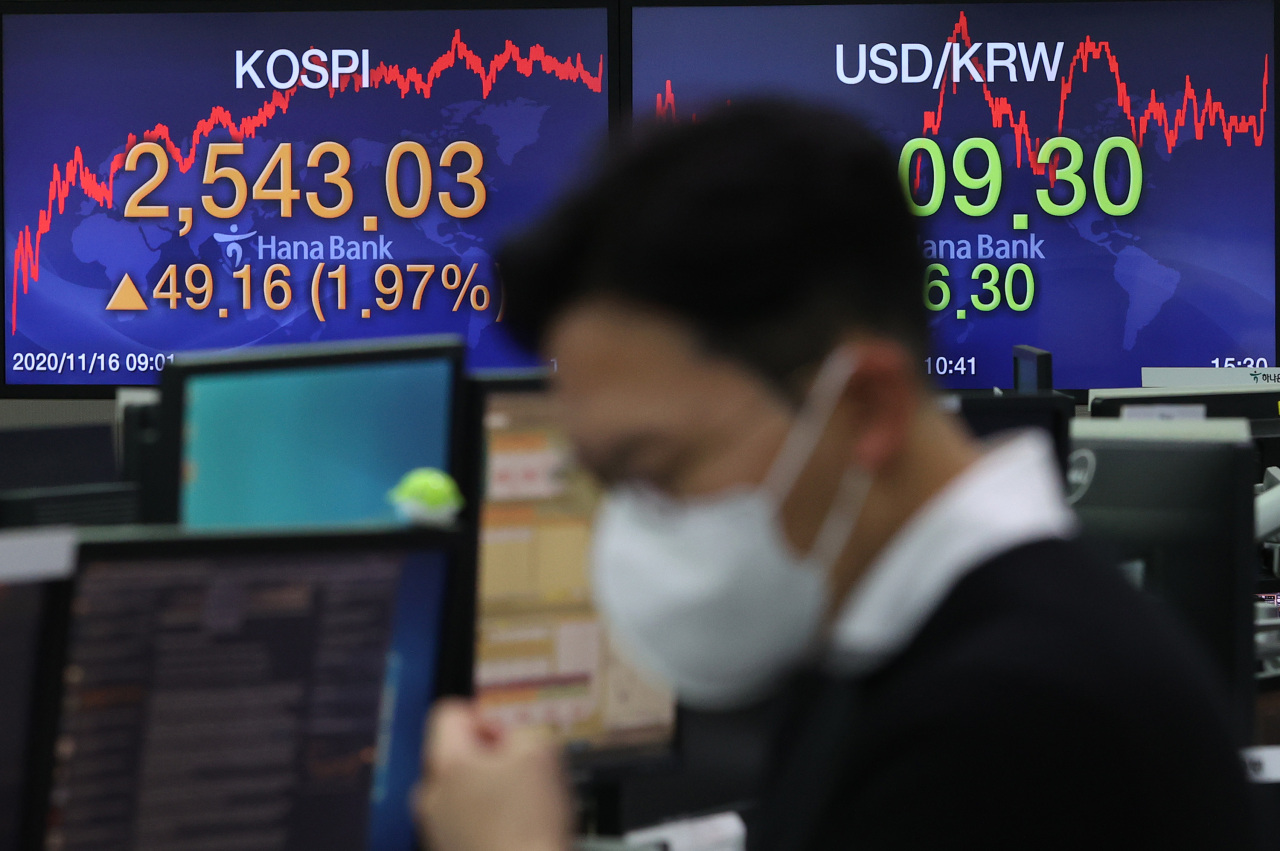 Electronic signboards at the trading room of Hana Bank in Seoul show the benchmark Kospi closed at 2,543.03 on Monday, up 49.16 points or 1.97 percent from the previous session's close. (Yonhap)