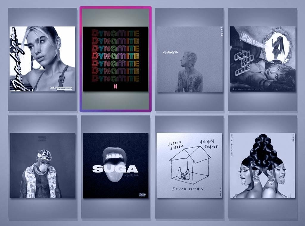 This image provided by the People's Choice Awards 2020 website shows the nominees for Song of 2020. BTS'
