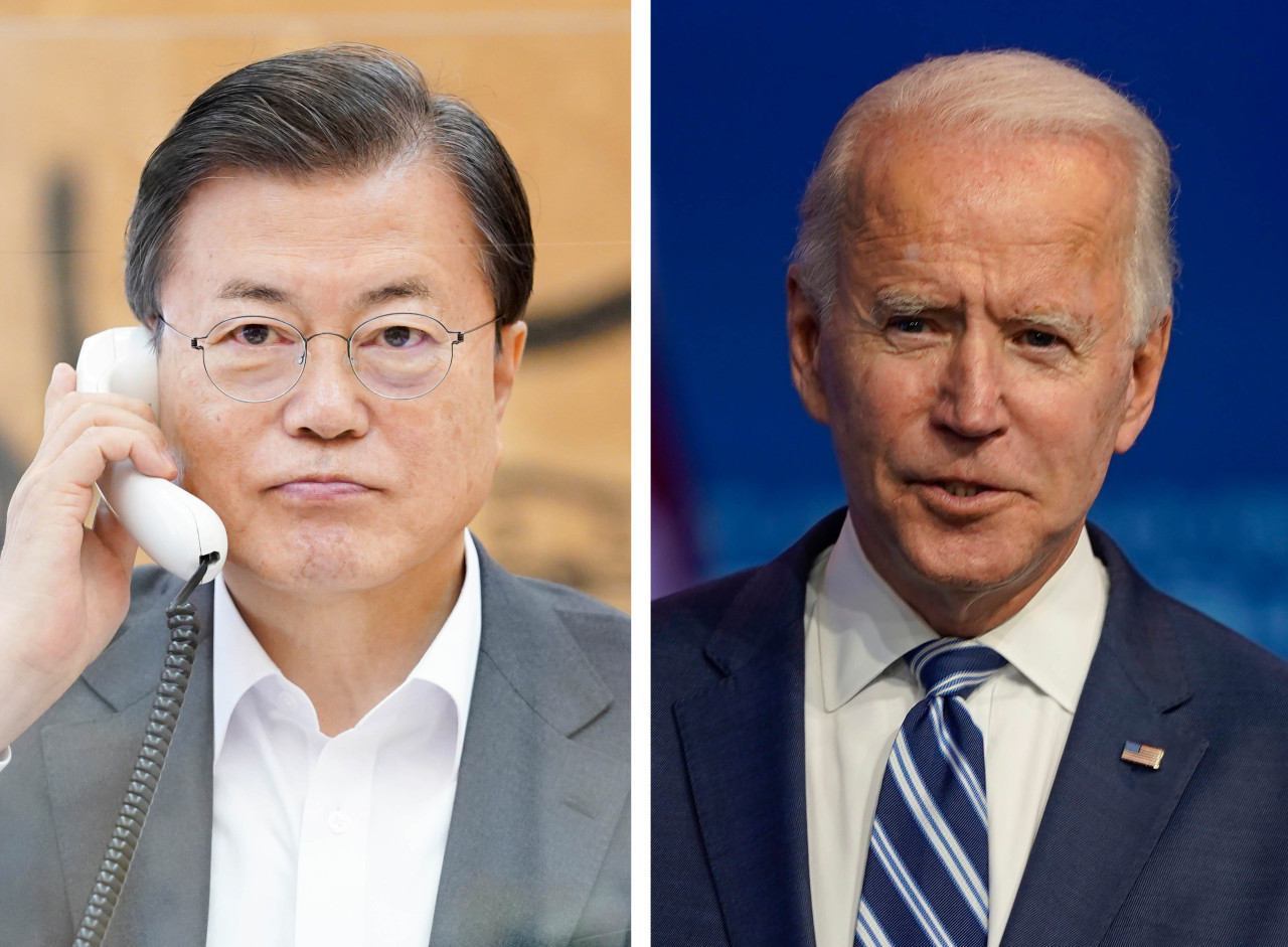 President Moon Jae-in and US President-elect Joe Biden. (Yonhap)