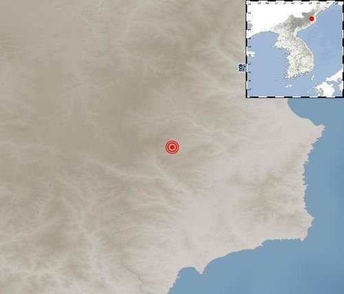 The site of an earthquake that struck North Korea on Tuesday. (Korea Meteorological Administration)