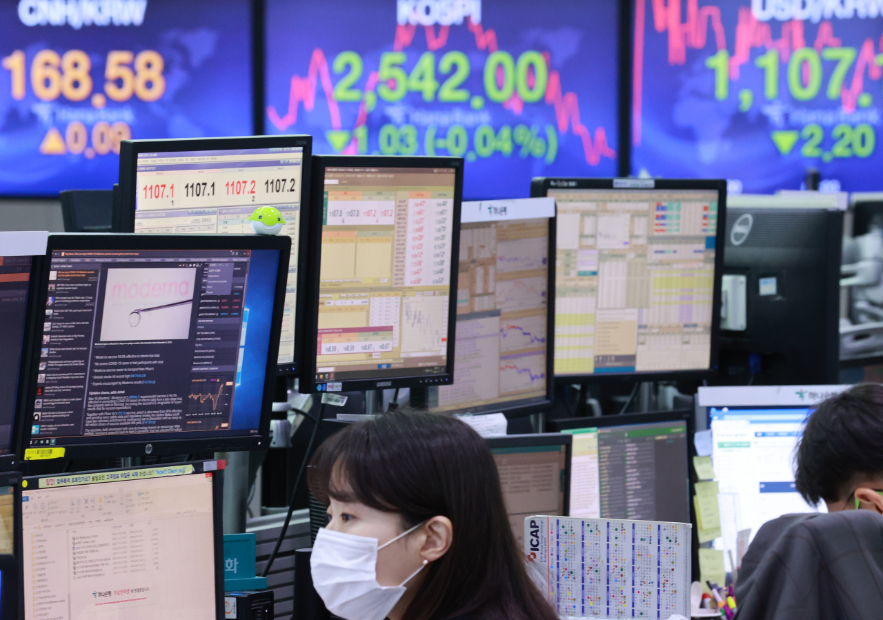 The benchmark Korea Composite Stock Price Index (Kospi) figures are displayed at a dealing room of a local bank in Seoul, Tuesday. (Yonhap)