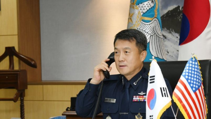 Chief of Staff Gen. Lee Seong-yong speaks during phone talks with his US counterpart, Gen. Charles Brown, on Nov. 6, 2020. (Republic of Korea Air Force)