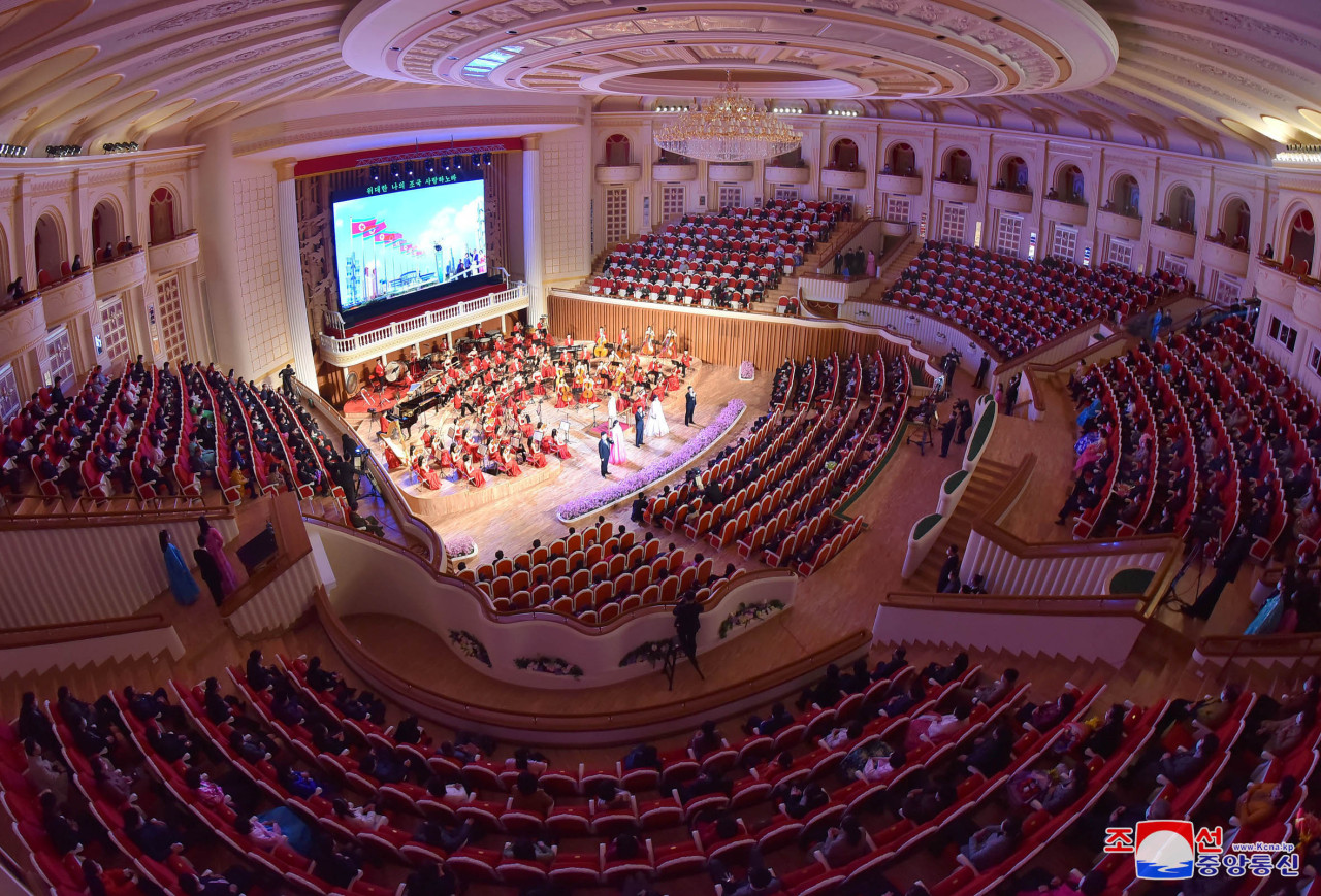Performance in Pyongyang marking Mother's Day on Monday. (KCNA-Yonhap)