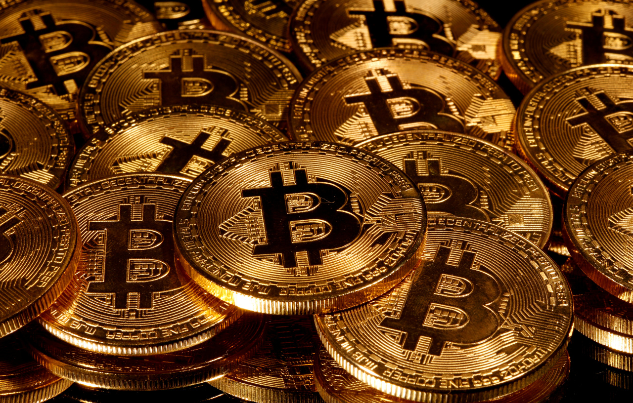 A visual rendering shows the Bitcoin cryptocurrency. (Reuters-Yonhap)