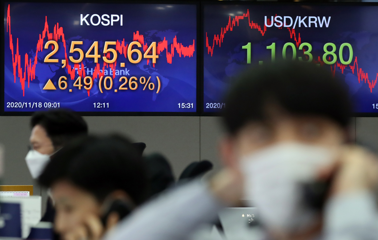 Electronic signboards at the trading room of Hana Bank in Seoul show the benchmark Kospi closed at 2,545.64 on Wednesday, up 6.49 points or 0.26 percent from the previous session's close. (Yonhap)