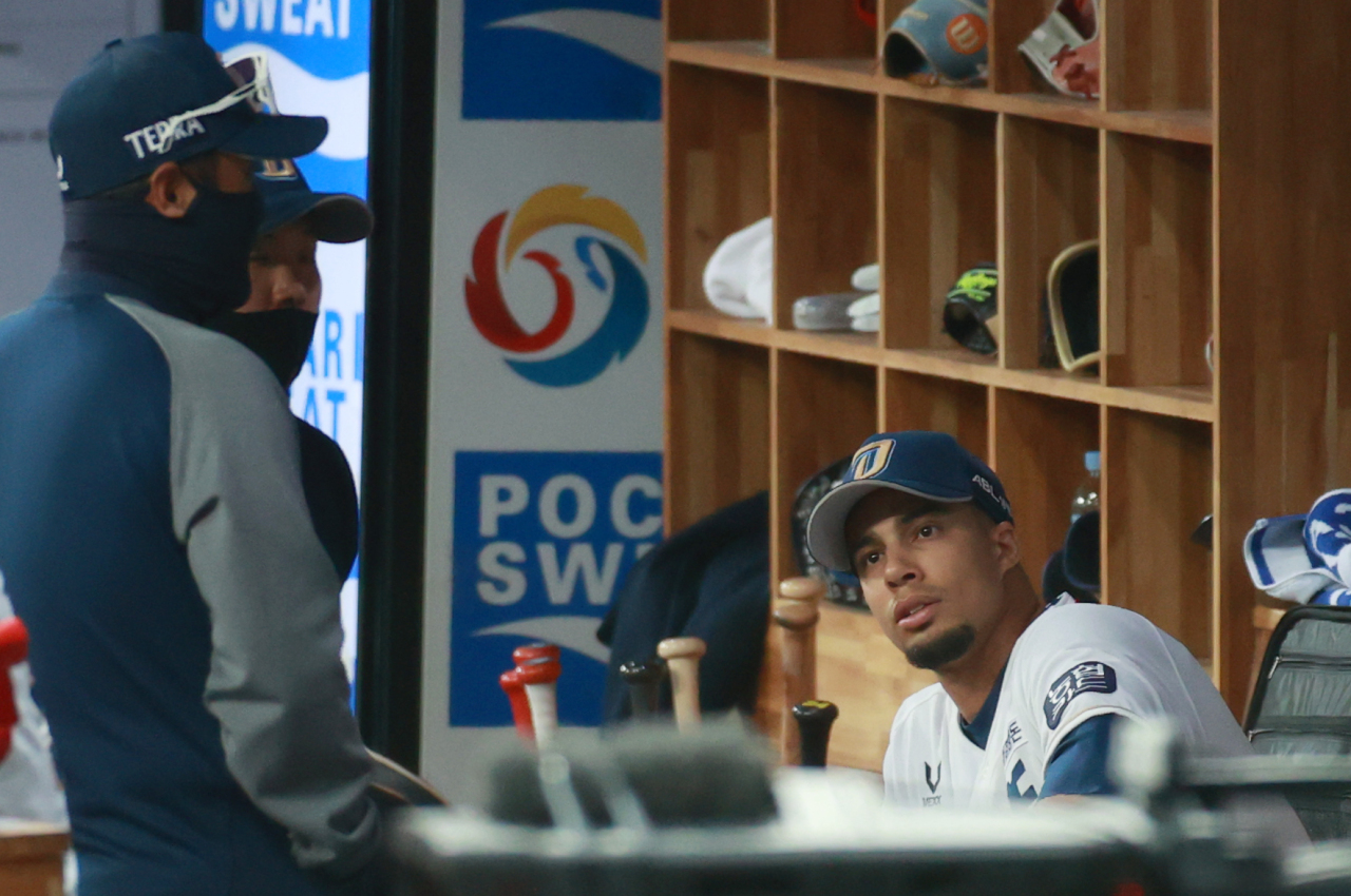 Aaron Altherr of the NC Dinos sits behind the dugout before the Game 2 of the Korean Series held Wednesday. (Yonhap)