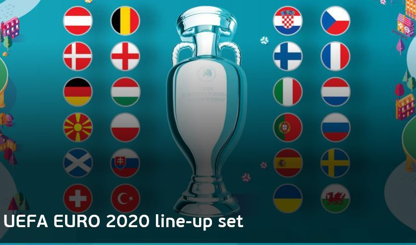 A capture of the UEFA Euro 2020 homepage that shows the flags of 24 contestants for the event, scheduled to be held in June-July 2021 (Union of European Football Associations)