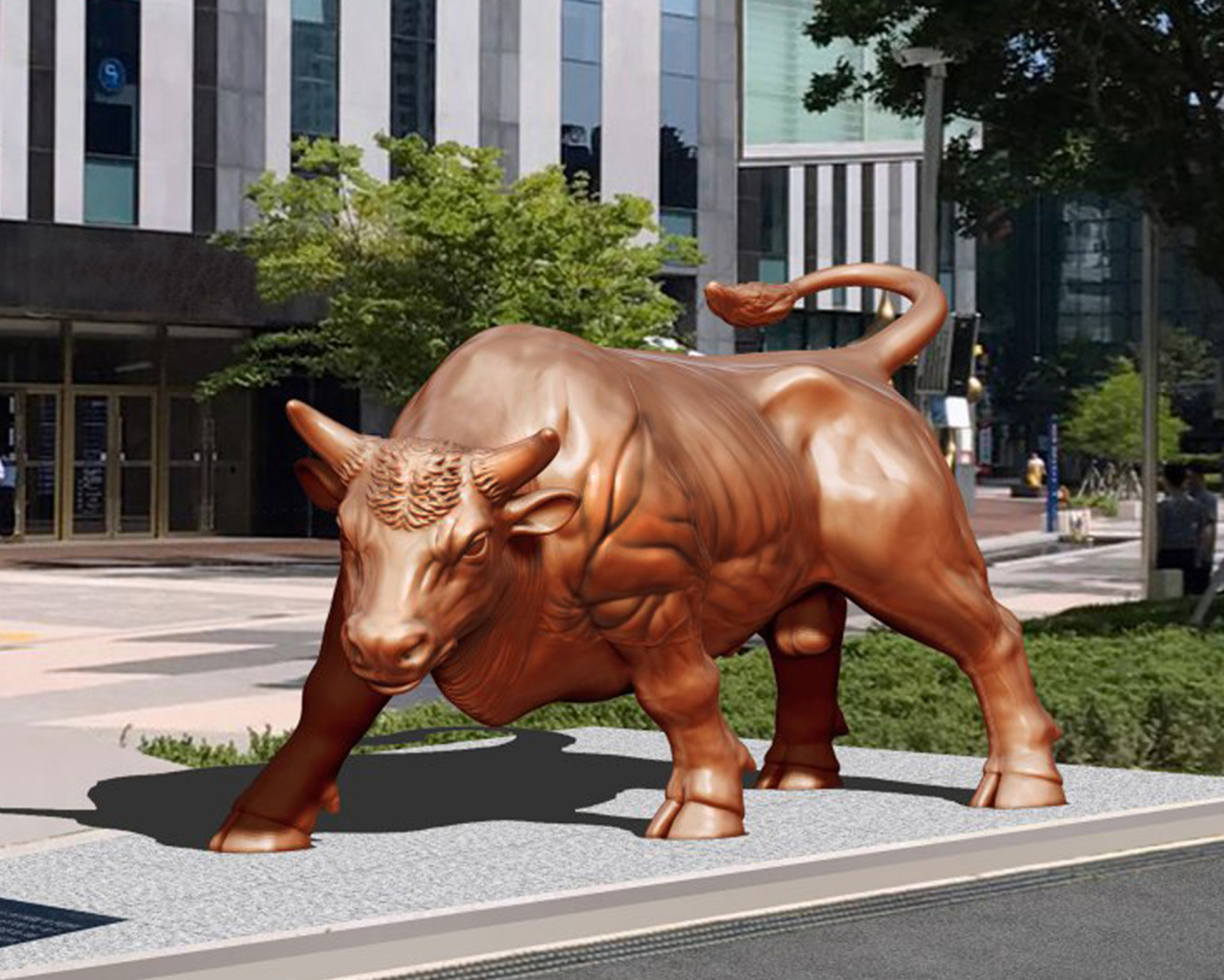 A bull statue in front of Busan International Finance Cetner (KRX)