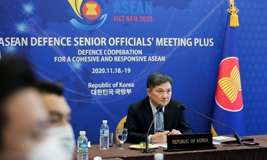 This photo, taken on Thursday, and provided by the defense ministry, shows Kim Sang-jin, director general of the ministry's international policy bureau, during the ASEAN Defence Senior Officials' Meeting Plus held in a videoconference. (Yonhap)