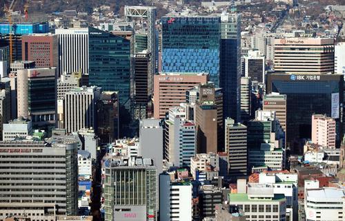 Buildings of major South Korean companies in Euljiro, Seoul. (Yonhap)