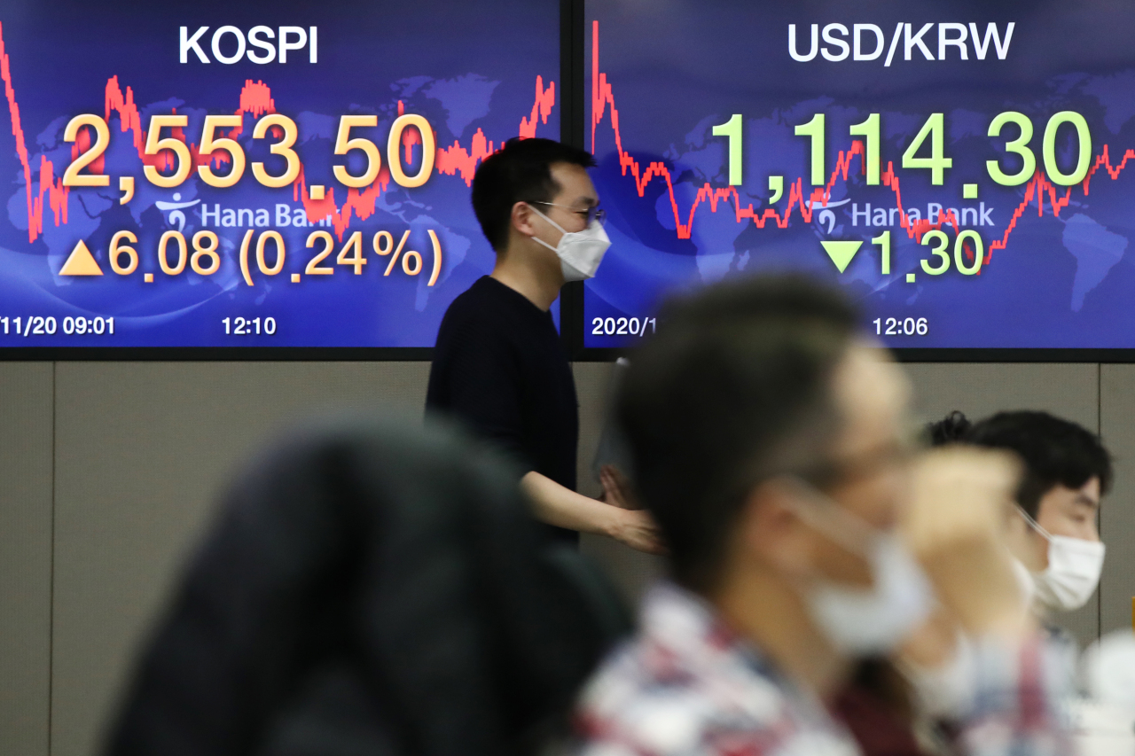 Electronic signboards at the trading room of Hana Bank in Seoul show the benchmark Kospi closed at 2,553.50, up by 6.08 points or 0.24 percent, from the previous session's close on Friday. (Yonhap)