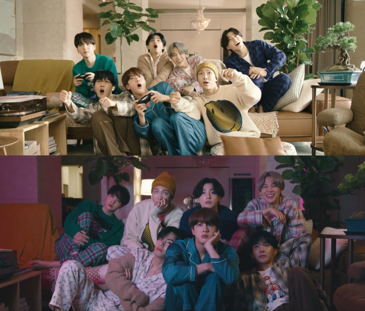 A scene of music video for the latest BTS song