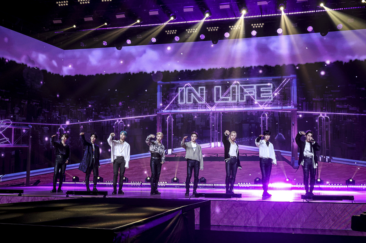"""K-pop boy band Stray Kids' online concert """"Unlock: Go Live In Life"""" takes place in Seoul on Sunday. (JYP Entertainment)"""